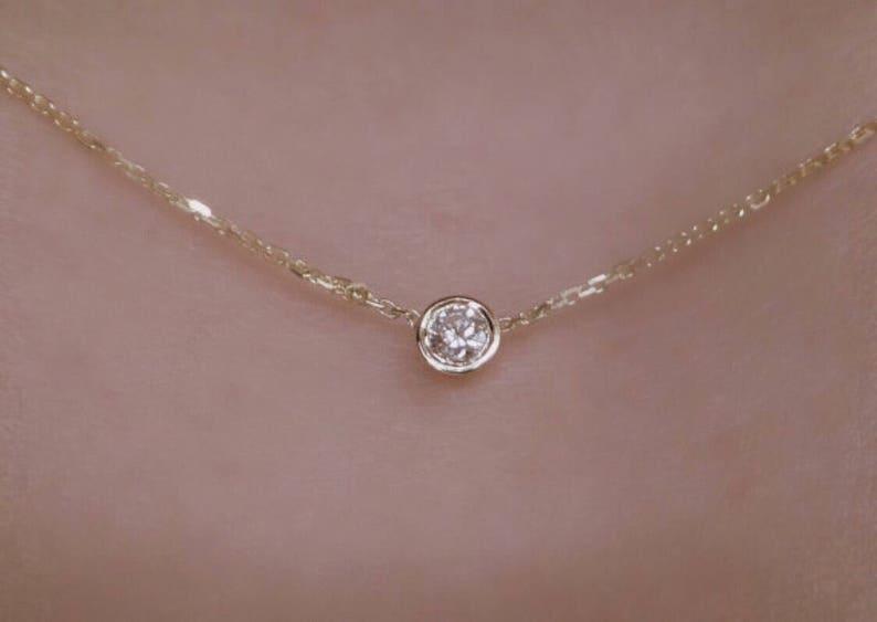 Diamond Solitaire Necklace 14k Yellow Gold / Diamond  Bezel image 1