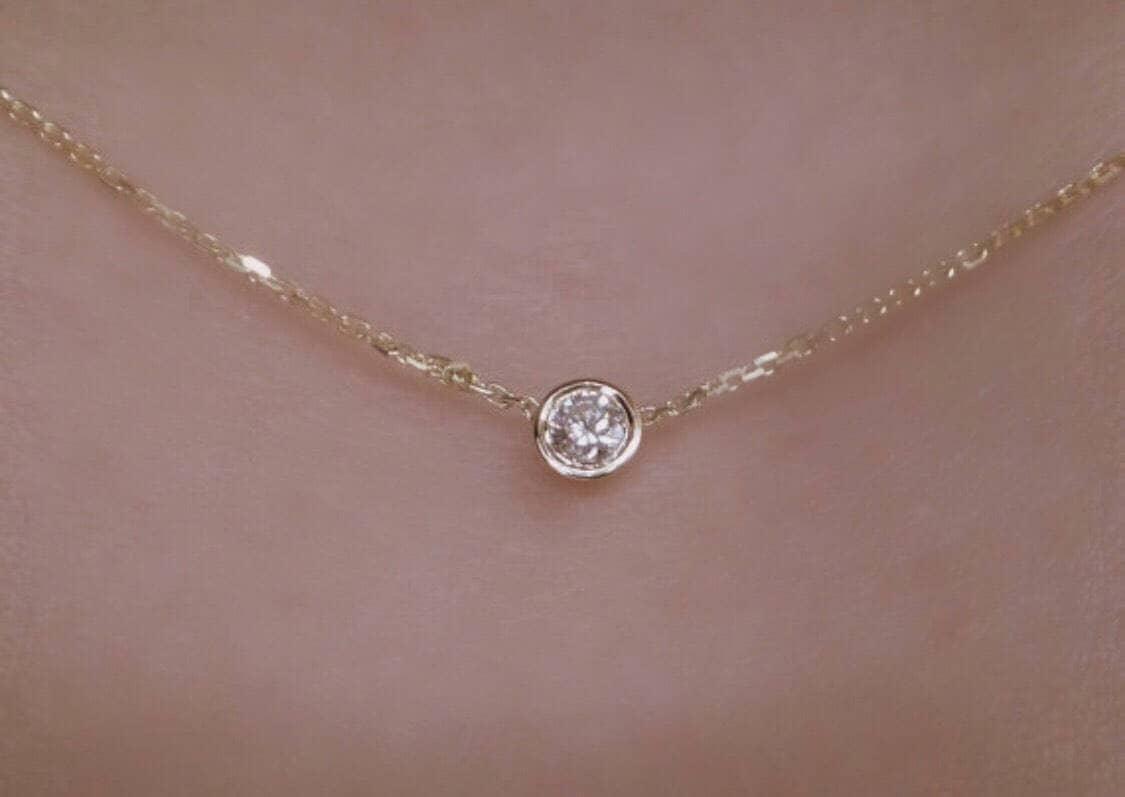 576eb912f31 Diamond Solitaire Necklace 14k Yellow Gold   Diamond Bezel