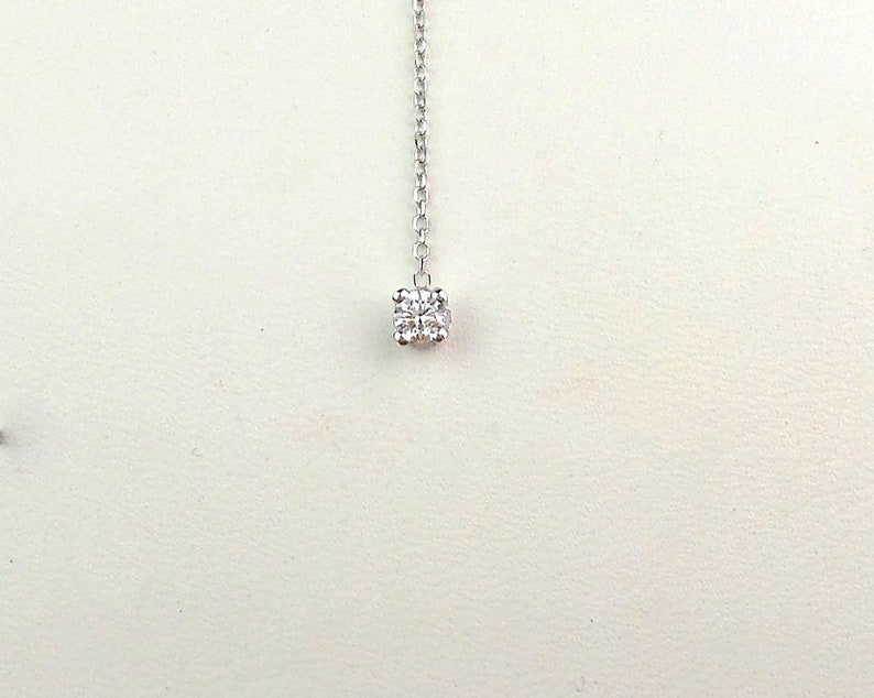 Diamond Necklace Lariat  14k White Gold Diamond Lariat Necklace  Lariat Diamond Necklace  Dainty Diamond Necklace  Bridal Diamond Lariat