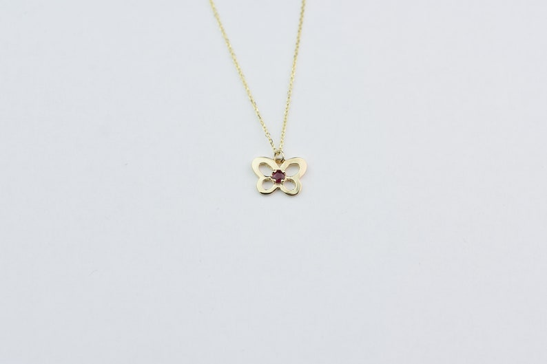 Butterfly Necklace with Ruby  14k Gold Ruby Butterfly Necklace  Gold Butterfly Necklace  Butterfly Charm Necklace Dainty Butterfly Ruby