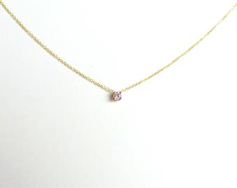 Diamond Solitaire Necklace 0.07ct/ Gold Solitaire Diamond Pendant/ Solitaire Diamond 14k Yellow Gold Necklace/ Tiny Gold Pendant/ Dainty