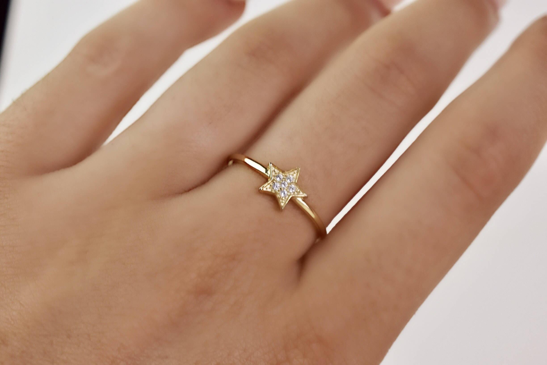 14k Gold Tiny Star Ring Gold Star Ring Little Star Ring Dainty Ring Simple Minimalist Ring Midi Star Ring Little Gold Star Ring