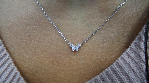 14k White Gold CZ Diamond Butterfly Charm Pendant