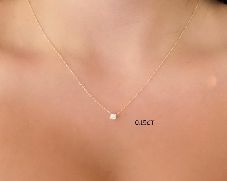 Diamond Necklace / 14k Gold Diamond Necklace / Diamond image 0