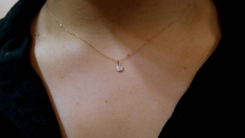 Diamond Disc Necklace Diamond Necklace 14k Rose Gold 14k Solid Rose Gold Diamond Necklace Delicate Necklace Layering Necklace Dainty