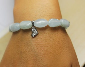AQUAMARINE beaded bracelet accented with a charm with sterling silver lock system/ Beaded Aquamarine Bracelet/ Natural Beaded Aquamarine