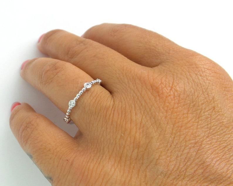 Diamond MultiStone Ring  14k White Gold Diamond Ring  Diamond Wedding Ring  Simple Diamond Ring  Stackable Thin Diamond Ring 0.15cts