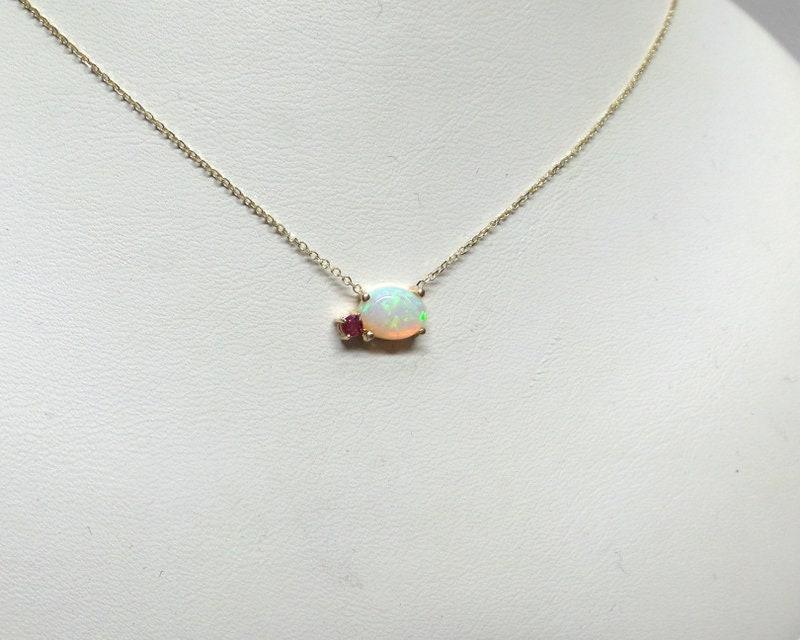 Opal Pendant 14Kt Gold Pink Opal Necklace Opal Diamond Necklace October Birthstone Necklace