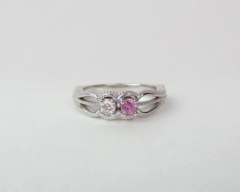 36cc9a1b6 Diamond Ring Pink Sapphire Ring / Pink Sapphire Diamond Ring ...