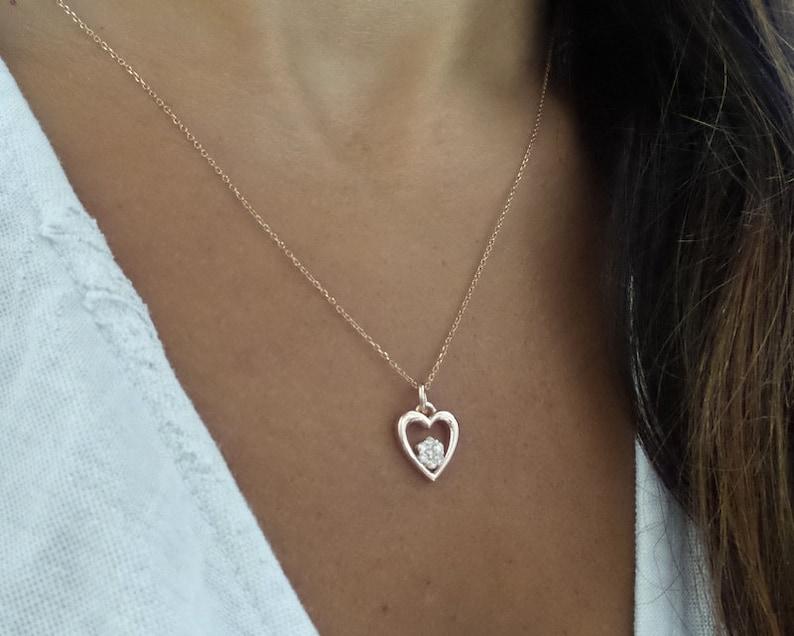 Diamond Heart Necklace  14k Rose Gold Diamond Heart Necklace  Solid Rose Gold Heart Necklace  Dainty Heart Necklace  Heart Pendant