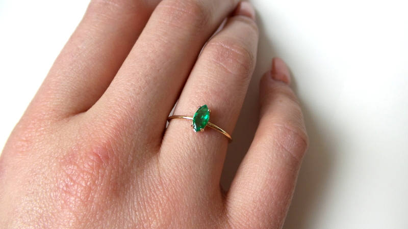Dainty Emerald Toe Ring For Her Gift Fashion Toe Ring 14K Gold Plated Channel Set Green Emerald Adjustable Retro Toe Ring May Birthstone