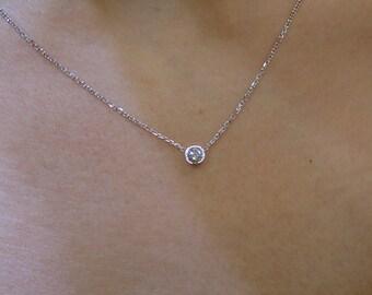 Diamond Pendant  14k White Gold/ Diamond Solitaire Bezel Necklace /Solitaire Diamond Pendant/Floating Diamond / 14k Gold Diamond Necklace