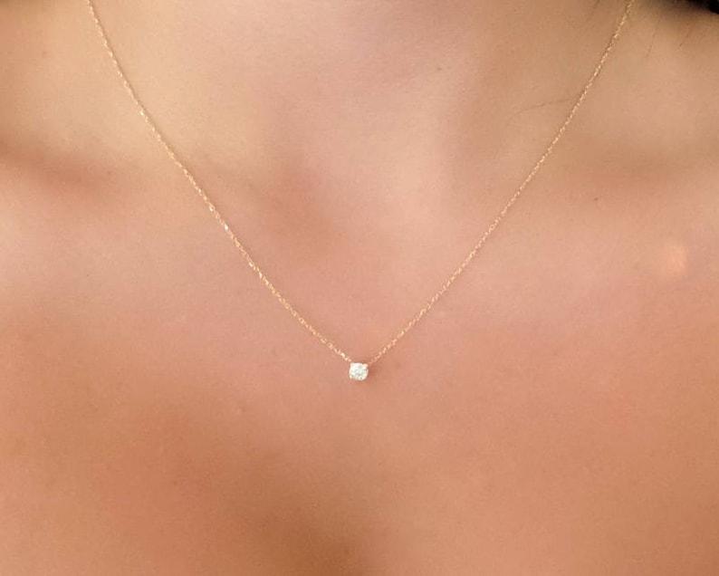 f7312c1594f24 Diamond Necklace / 14k Gold Diamond Necklace / Diamond Solitaire Pendant /  Dainty Diamond Necklace / Bridal Diamond Jewelry Floating Diamond