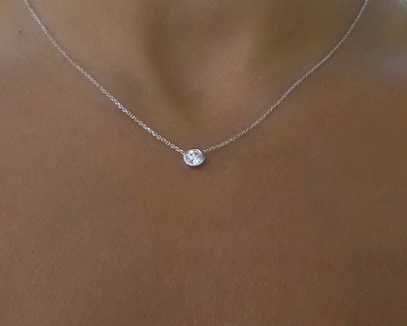 9172fae929b Diamond Solitaire Necklace   14k White Gold Diamond Solitaire