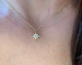 Diamond North Star Necklace / Starburst Diamond Necklace / 14k Gold Diamond North Star Necklace / Layering North Star Pendant / Starburst