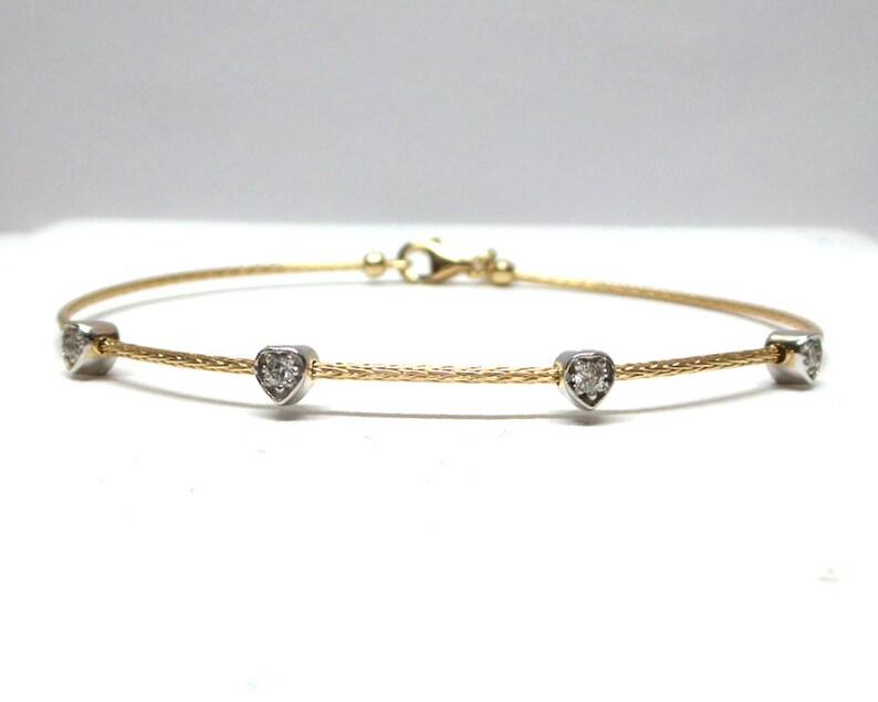 Diamond Heart Bracelet  14k Gold Diamond Bezel Bracelet 0.12 tcw   Heart Bracelet   Dainty Diamond Bracelet  Bangle Diamond Bracelet