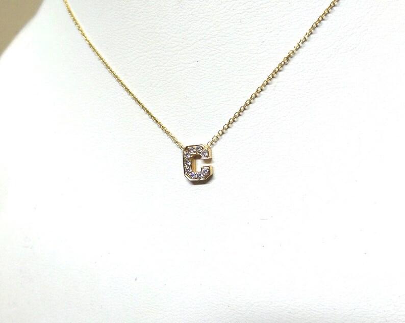 Diamond Initial Necklace  Diamond Letter Necklace  14k Gold Letter Necklace  Dainty Initial Diamond Necklace  Gold Diamond Letter