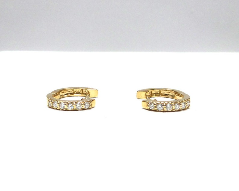 2bdc9dd9f50af Diamond Huggies 0.16ct / 14k Gold Diamond Hoop Earrings / Gold Small Huggie  Earrings / Huggie Earrings / Dainty Diamond Huggies