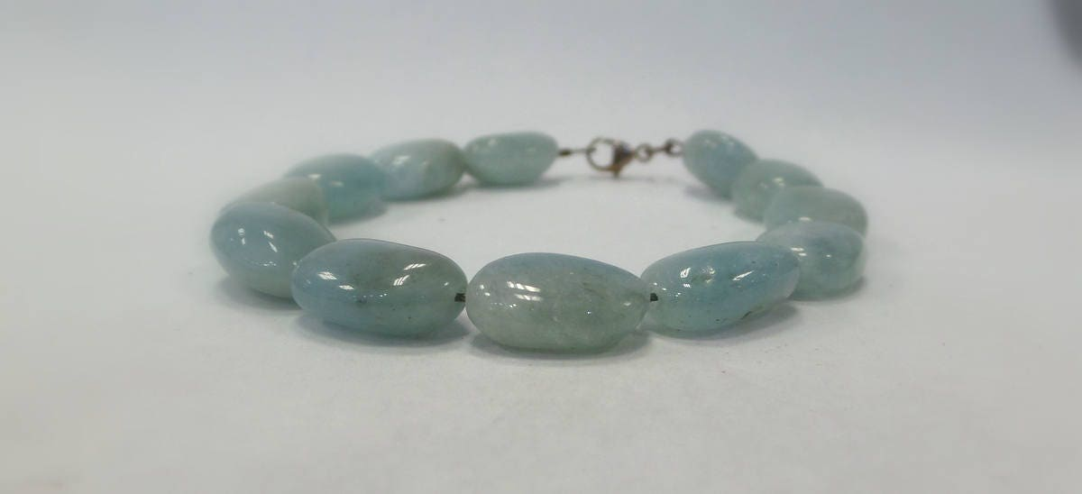 7 inches bracelet sterling silver natural aquamarine