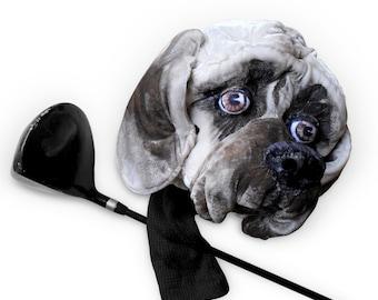 American Mastiff GOLF club  head cover ,Custom Dog portrait  ,Golfer GIFT