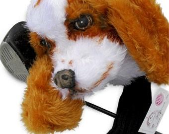 GOLF club head cover , Cavalier King Charles spaniel , Custom Dog portrait , GOLF GIFT