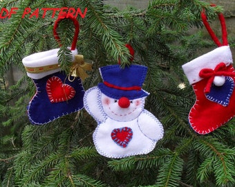 Felt Christmas tree Ornaments-Sewing  pattern  PDF how to make Christmas decoration- 2 stockings and a snowman,DIY CHristmas crafts
