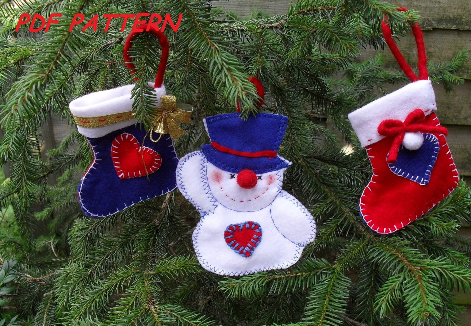 Felt Christmas tree Ornaments-Sewing pattern PDF how to ...