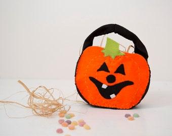 Halloween Pumpkin bag Trick or treat , kids Accessories table decoration , Halloween party orange Felt,party favor bag