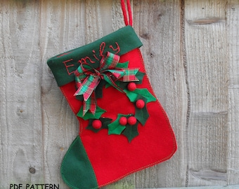 Personalised Traditional Christmas Stocking-Sewing  pattern  PDF, how to make,DIY Christmas crafts