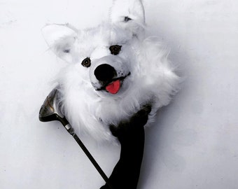 GOLF club  head cover ,Custom Dog portrait  Samoyed , golf accessories ,Father's day  GOLF GIFT