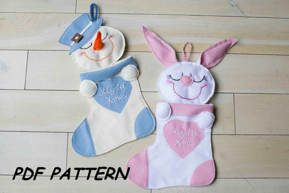 Baby FIRST Christmas Stocking PDF-Sewing Pattern-How to Make