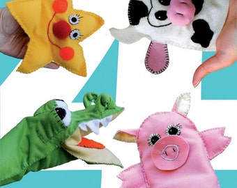 Nursery rhymes puppets -Little star , Crocodile ,Pig ,Cow - PDF sewing pattern ,  DIY Hand Puppet  ,instant download