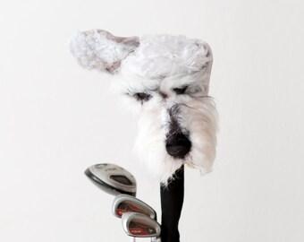Schnauzer Golf club headcover ,Custom  DOG portrait   ,golfer gift