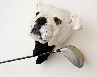 Golf club headcover ,Custom  DOG portrait  Bulldog ,golfer gift
