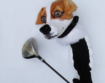 GOLF club  head cover ,Custom Dog porrait Jack Russell  , golf accessories ,Father's day  GOLF GIFT