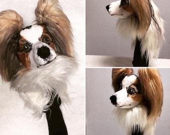 GOLF club head cover , Papillon , Custom Dog portrait , GOLF GIFT