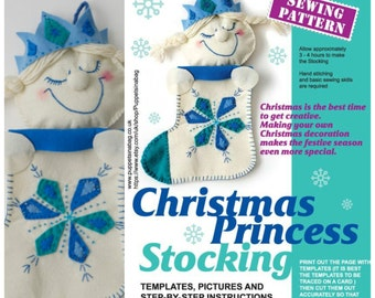 Christmas Princess Stocking PDF-Sewing Pattern-Frozen inspired -How to Make your own ,DIY - for Girls