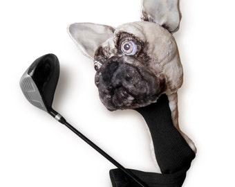 GOLF club  head cover ,Custom Dog portrait French Bulldog , golf apparel ,golfer gift , Fathers day golf gift , GOLF GIFT