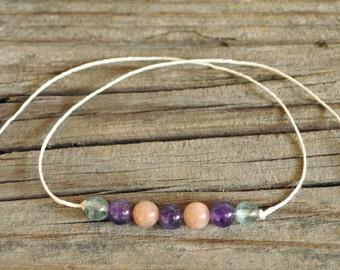 Wish Bracelet, Amethyst, Sunstone, Apatite, Hemp, Crystal Healing, Meditation Bracelet, Stack Bracelet, Yoga Bracelet, Intent