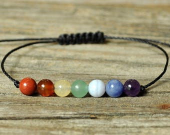 7 Chakra Bracelet, Yoga Bracelet, Meditation Bracelet, Crystal Bracelet, Intent Bracelet, Energy Bracelet, Rainbow Bracelet