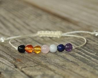 7 Chakra Bracelet, Energy Bracelet. Yoga Bracelet, Meditation Bracelet, Crystal Therapy, Adjustable, String Bracelet, Stack Bracelet