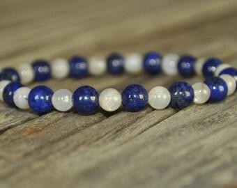 Moonstone, Lapis Lazuli, Mala Bracelet, Crystal Healing, Yoga Bracelet, Prayer, Meditation, Intent, Gemstone Stretch, Harmony, Peace