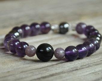 Mens Addiction Mala Bracelet, Obsidian, Lepidolite, Hematite, Amethyst, Crystal Healing, Meditation, Yoga Bracelet Gemstone Therapy