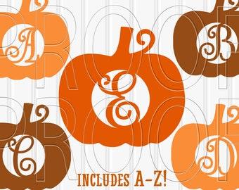 Pumpkin SVG Letter Cut File Set of 27 includes uppercase Letters A-Z and solid pumpkin for layering in svg/png/jpg formats! monogram svg