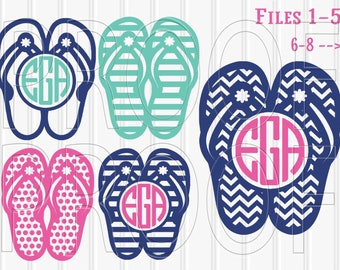 3bc8a0527a676 Monogram SVG Files Flip Flop Set includes 8 cutting files  SVG PNG jpg   beach svg monogramsummer svg  colors letters not included