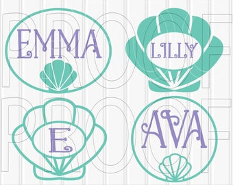 Monogram SVG Files Shell Set of 9 cut files | Etsy