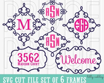 Monogram SVG Frames Cut File Set of 6 cut files {SVG/PNG/jpg formats} Commercial use ok! {frames only, no letters numbers included}}