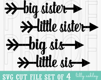 Arrow SVG Cut File Set of 4-Commercial use ok! Includes PNG & JPG format also. Svg files Cut Files little sister svg big sister svg baby svg