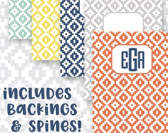 Binder Cover Printables Set of 5 covers spines and backings! Option to choose colors! JPG format (no editable text) tribal aztec
