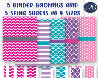 Printable Binder Backings and Spines...8.5x11 JPG PDF format downloadables. Includes 5 Different Color Backings/5 Coordinating Spine Sheets.